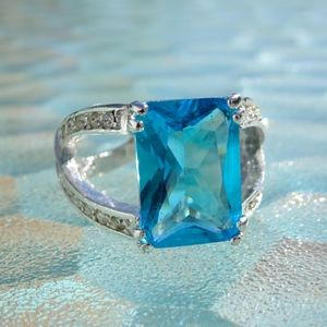Jewelry - Big Light Blue Jewel Statement Ring Size 8
